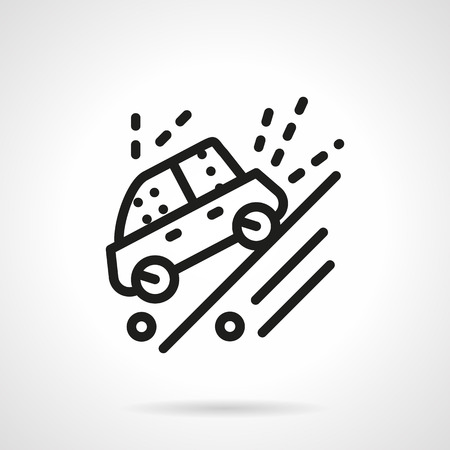 Automobile moves down on a slope dirt road. Warning sign. Cars sport competition. Simple black line vector icon. Single element for web design, mobile app.