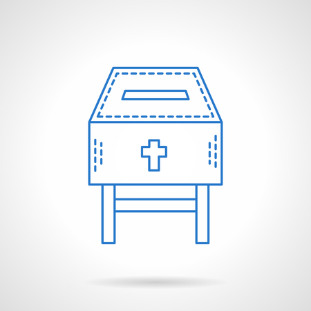 needy: Fundraising for a church or temple. Donation box with cross. Flat blue line style vector icon. Single design element for website, business. Illustration