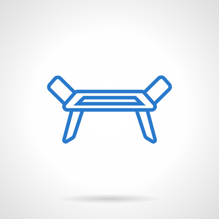 laundry line: Equipment for laundry. Folding clotheshorse. Empty dryer rack. Simple blue line vector icon. Single element for web design, mobile app.