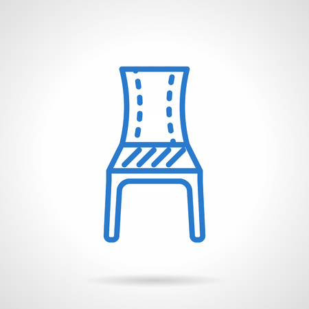 patio furniture: A front view of a classic blue chair. Furniture for cafe and restaurant interior, home. Symbol of place to wait. Simple line style vector icon. Single element for web design, mobile app.