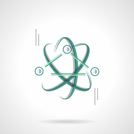 scientific research: Symbol of physics science. Education and scientific research. Model of atoms or particles interaction. Flat color style vector icon. Web design element for site, mobile and business.