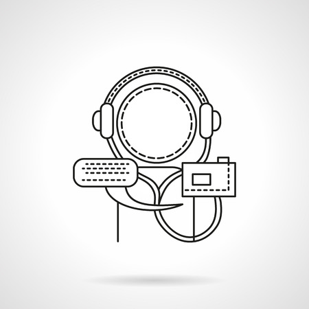 lectures: Abstract person with audio player and headphones. Distance education and learning concept. Audio lectures and tutorials. Flat line style vector icon. Single design element for website, business.