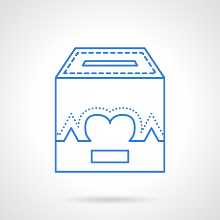 needy: Donation box with life symbol. Heart sign with curve. Fundraising and charity concept. Flat blue line style vector icon. Single design element for website, business. Illustration