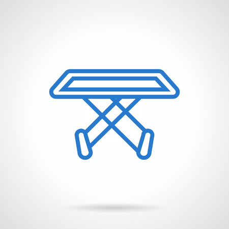 laundry line: Empty folding clothes dryer rack. Housekeeping, homework. Laundry equipment.  Simple blue line vector icon. Single element for web design, mobile app.