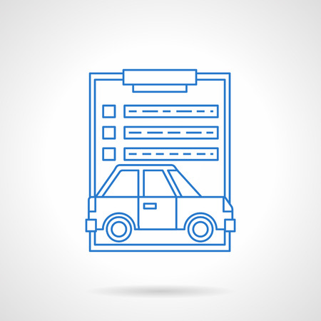agency agreement: Car insurance agency. Clipboard with paper document and automobile image. Drafting of an agreement. Flat line style vector icon. Single design element for website, business. Illustration