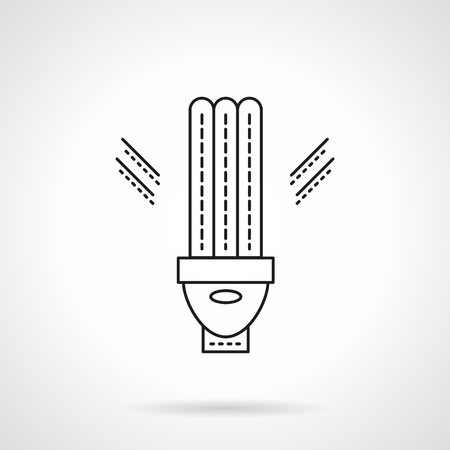 expedient: Eco-friendly innovation technology. LED, lamp, lighting equipment and devices for energy saving. Flat line style vector icon. Single design element for website, business.
