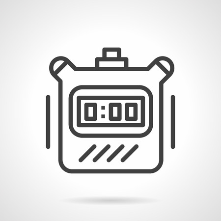 digital timer: Sport time symbol. Time countdown. Digital timer device with button. Simple black line vector icon. Single element for web design, mobile app.