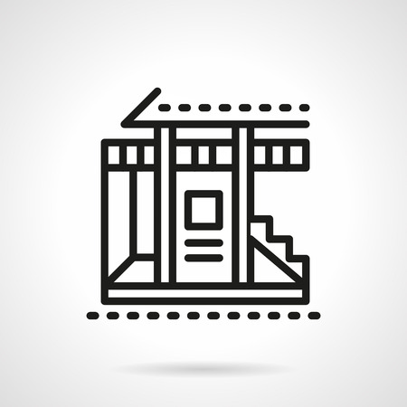 veranda: Facade of cottage building with steps and porch. Tourism and travel. Summer vacation. Bungalows. Simple black line vector icon. Single element for web design, mobile app.