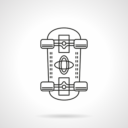 bottom line: Skateboard a bottom view. Equipment for outdoors active leisure and extreme sports. Street championship. Sport goods store. Flat line style vector icon. Single design element for website, business. Illustration