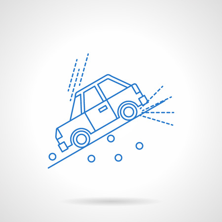 moving down: Car moving down the slope with stones. Warning of a dangerous road. Car insurance concept. Automobile disasters. Flat blue line style vector icon. Single design element for website, business. Illustration