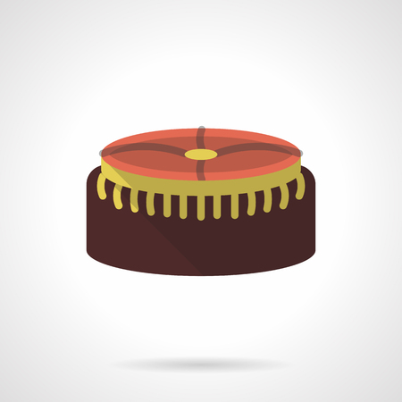 padded stool: Round brown soft foot stool with a yellow elements. Upholstered furniture for home recreation. Fashionable interior decor. Flat color vector icon. Web design element for site, mobile and business.