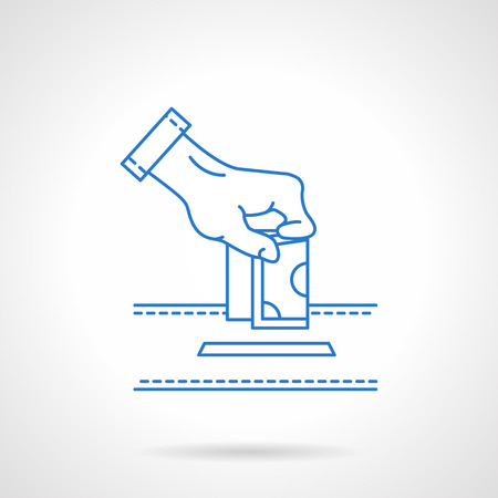 compassionate: Hand putting money to donation box. Financial aid. Contributions to charity. Fight with corruption. Flat line style vector icon. Single design element for website, business. Illustration