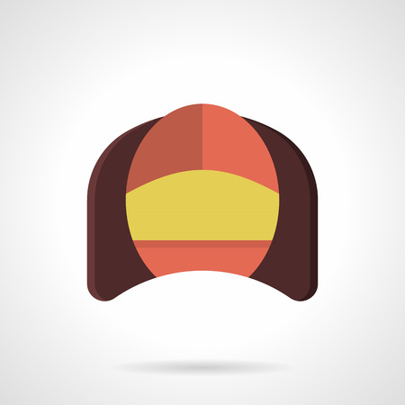 home corner: Corner brown soft arm chair with a red back and yellow seat. Comfortable furniture for cafe, restaurant, hotel and home. Flat color vector icon. Web design element for site, mobile and business.