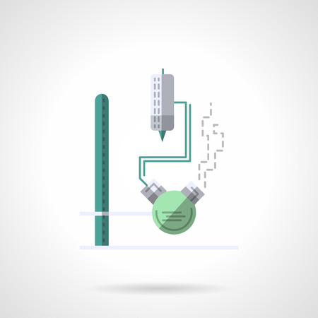 industry icons: Flask with tube and thermometer on a rack. Laboratory equipment. Chemistry research, biology, pharmacology and medicine. Flat color style vector icon. Web design element for site, mobile and business.