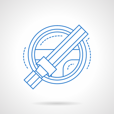 single seat: Automobile steering wheel and seat belt. Protection system for driver. Safe riding. Car insurance theme. Flat blue line style vector icon. Single design element for website, business.