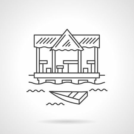 pier: Boat on waves near terrace with tables and chairs. Sea pier. Cafe and bar on a beach. Tropical vacation, travel and tourism theme. Flat line vector icon. Single design element for website, business.