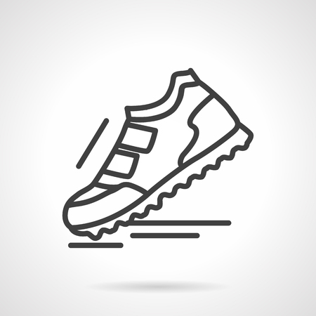 sports shoe: Single sports shoe with velcro fasteners. Comfortable footwear for workout, jogging and walks. Sport fashion. Simple black line vector icon. Element for web design, mobile app.