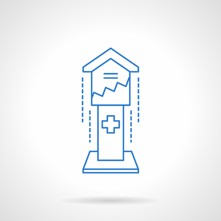 needy: Box for contributions on a pedestal. Financial aid. Fund investments for church. Charity concept. Flat blue line style vector icon. Single design element for website, business.