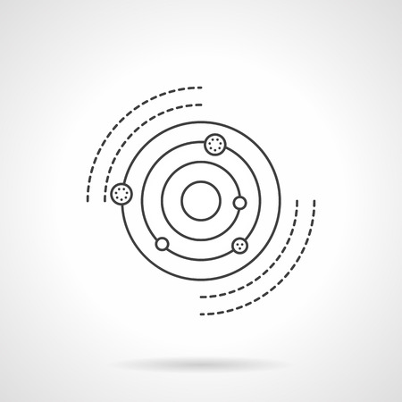 orbits: Planets revolving in orbits around the Sun. Discovery of a solar system. Astronomy and physics research. Science and education. Flat line vector icon. Single design element for website, business. Illustration