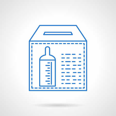 altruism: Donation box with baby bottle sign for contributions. Charitable foundations. Financing of orphanages. Flat blue line style vector icon. Single design element for website, business.