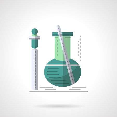 green bulb: Green bulb with tube and stick. Laboratory equipment for biochemical studies. Biotechnology, chemical experiment. Flat color style vector icon. Web design element for site, mobile and business. Illustration