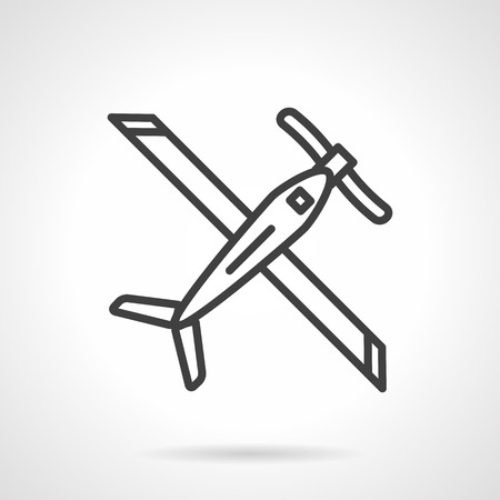 air sport: Plane with wings, biplane. Air transportation. Tourism. Air show and sport. Army equipment and UAV. Simple black line vector icon. Single element for web design, mobile app.