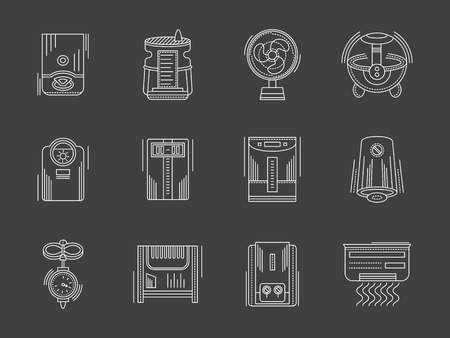 humidifier: Climatic equipment and appliances. Heating and cooling, air conditioning and humidification. Collection of white flat line style vector icons on black. Elements for web design, business, mobile app.