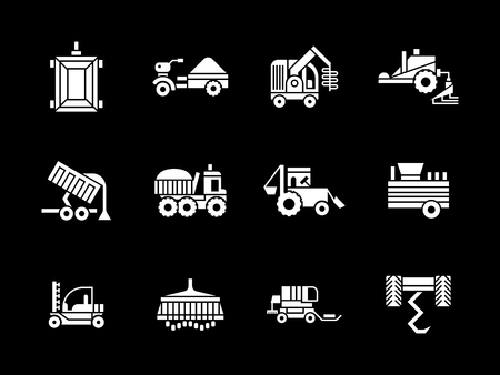 agriculture machinery: Agriculture industry. Machinery for farming. Combines, tractors, harvesters and other equipment. Collection of white glyph style vector icons on black. Elements for web design, business, mobile app.