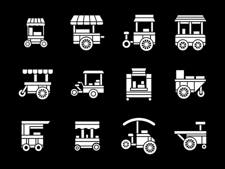 Trolleys and carts for street trade. Shop on wheels. Fast food sale. Collection of white glyph style vector icons on black. Elements for web design, business, mobile app. Stok Fotoğraf - 55562694