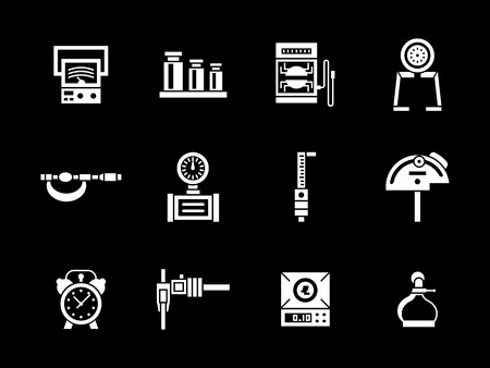analog weight scale: Measuring equipment for construction, engineering, repair. Metrology calibration tools. Collection of white glyph style vector icons on black. Elements for web design, business, mobile app. Illustration