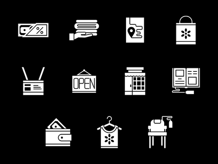 commission: Online shopping and e-store elements. Commission shop. Collection of white glyph style vector icons on black. Elements for web design, business, mobile app.