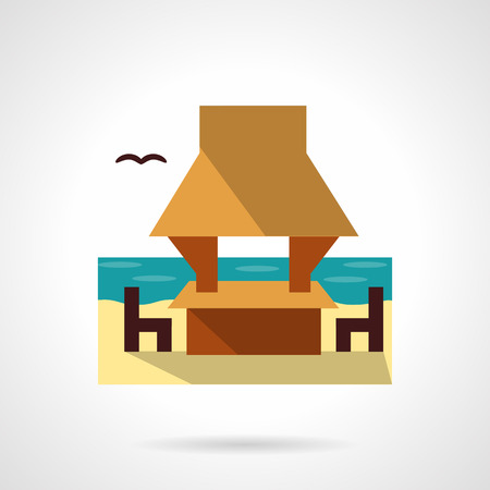 seacoast: Gazebo on seacoast with table, chairs and bird. Beach architecture. Landscape design. Tropical resort and rest. Flat color style vector icon. Web design element for site, mobile and business.