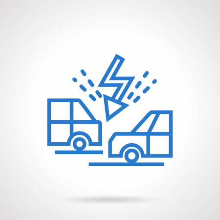 explosion engine: Flash symbol between two confronted car. Prevention of accidents on a road. Automobile insurance. Simple blue line vector icon. Single element for web design, mobile app.