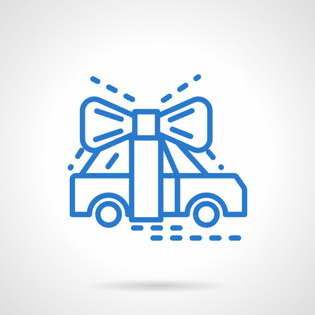 car for sale: Automobile tied with a ribbon bow. Gift for celebrating. Sale and delivery vehicles. Win a car prize. Simple blue line vector icon. Single element for web design, mobile app. Illustration