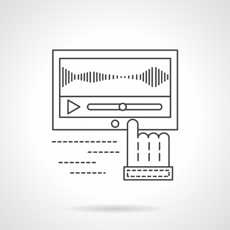 Finger cursor on media processing application. Sound recording technology. Studio equipment. Flat line style vector icon. Single design element for website, business.