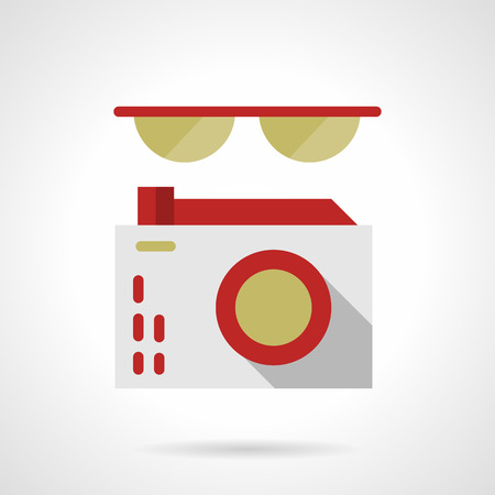 mobile accessories: Sunglasses and photo camera with red elements. Device and accessories for photography, journalism, tourism. Flat color style vector icon. Web design element for site, mobile and business.