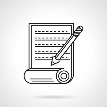 chronicle: Scroll with abstract handwritten or typewritten text and pencil. Article sign. Paper documents. Flat line style vector icon. Single design element for website, business. Illustration