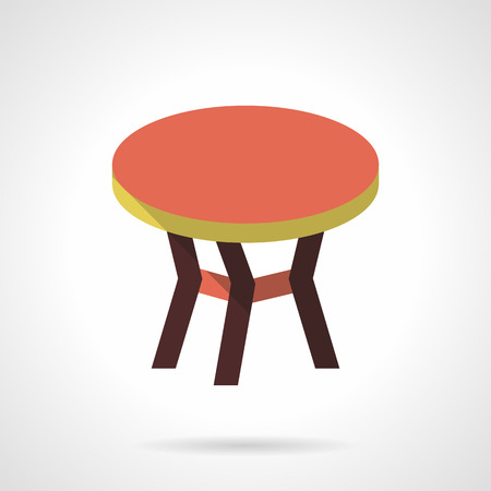 coffee table: Table with red round top. Coffee table. Furniture for trendy and comfortable interior. Flat color style vector icon. Web design element for site, mobile and business. Illustration
