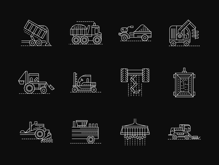 plowing: Agricultural vehicles and machinery for crop growing and harvesting, sowing and plowing. Collection of white flat line style vector icons on black. Elements for web design, business, mobile app. Illustration