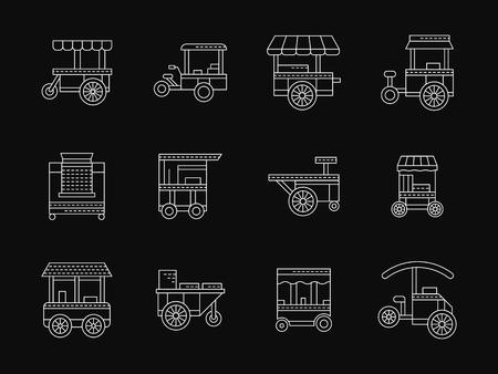 Via oggetti cibo commerciali. Negozi su ruote, mercato delle ruote, chiosco. carrelli portavivande. Raccolta delle bianche piatte stile linea vettoriale icone su fondo nero. Elementi per il web design, affari, mobile app. Vettoriali