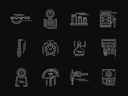 metrology: Tools, instruments and devices for test and for measuring various quantities. Engineering and metrology.  Set of white flat line vector icons on black. Elements for web design, business, mobile app.