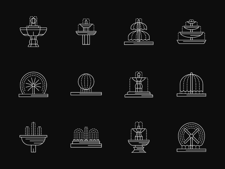 landscape architecture: Elements and object for landscape projects. Fountains architecture, decorative fountains for park, city, gardens. White flat line vector icons on black. Elements for web design, business, mobile app. Illustration