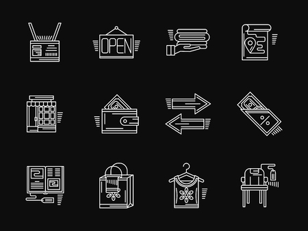 commission: Signs and symbols for web store. Online shopping. Commission shop. Collection of white flat line style vector icons on black. Elements for web design, business, mobile app. Illustration