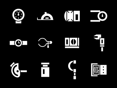 measuring instruments: Mechanical and electrical measuring instruments. Measurement and calibration tools. Collection of simple white glyph style vector icons on black. Elements for web design, business, mobile app.