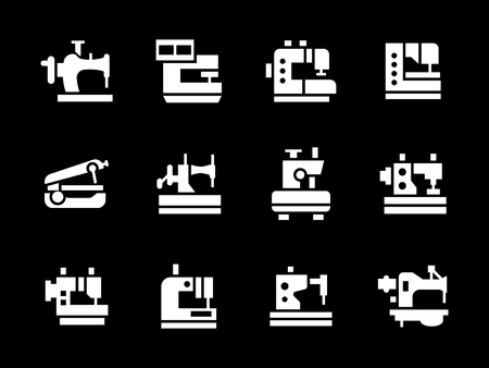 glyph: Garment factory equipment. Sewing machines for dressmaking, mending, embroidery. Collection of simple white glyph style vector icons on black. Elements for web design, business, mobile app. Illustration
