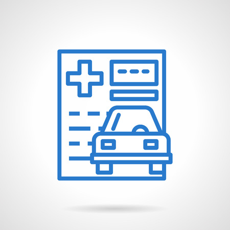 insurance policy: Car insurance theme. Insurance policy. Paper documentation for protection of automobile. Simple black line vector icon. Single element for web design, mobile app.