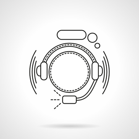 headset business: Abstract hotline operator with headset and speech bubble. Call center. Online support. Flat line style vector icon. Single design element for website, business. Illustration