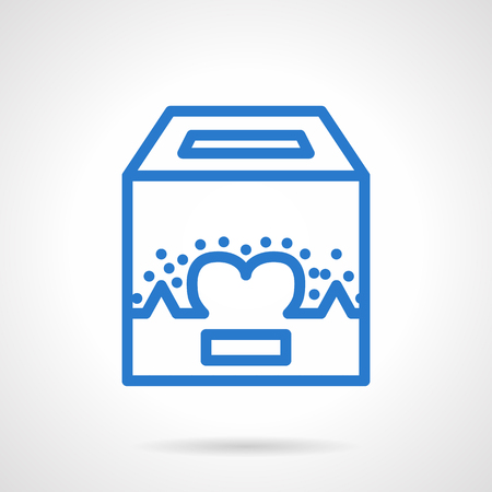 fundraiser: Box for charity fundraiser. Abstract heart sign. Save life symbol. Volunteers organization. Simple blue line vector icon. Single element for web design, mobile app. Illustration