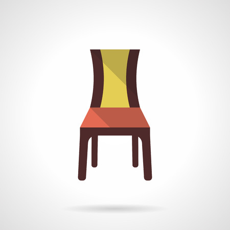 chair wooden: A front view brown chair with red yellow elements. Furniture for restaurant, cafe, hotels interior. Flat color style vector icon. Web design element for site, mobile and business.
