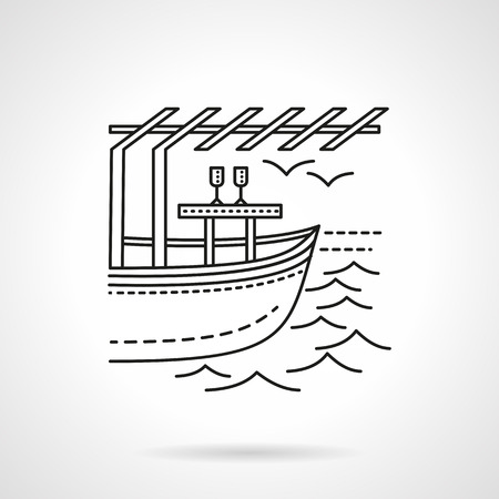 honeymoon: Leisure on yacht for lovers. Honeymoon. Tropical resort. Exotic romantic date. Flat line style vector icon. Single design element for website, business.